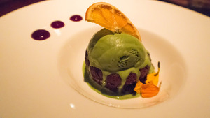 Flourless Chocolate Cake, Green Tea Ice Cream & Blueberry Compote